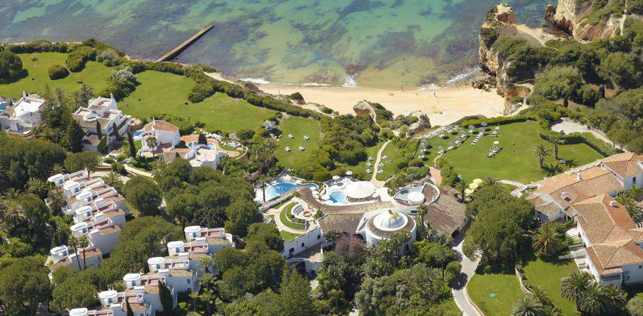 An aerial view of the Club house and beach