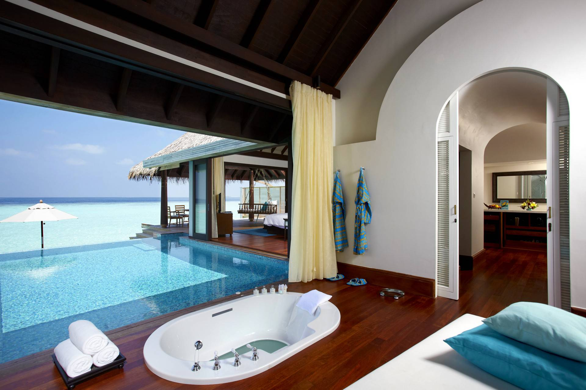 The bathroom of an Over water pool villa