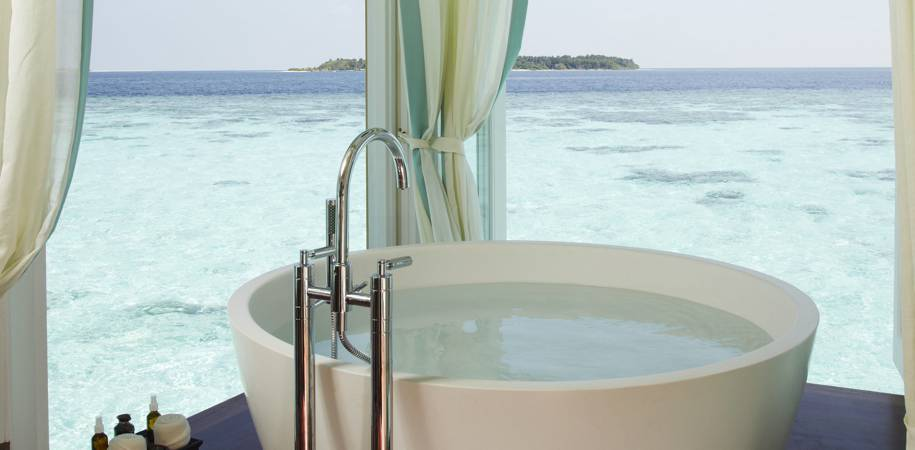 A Spa treatment room bathtub