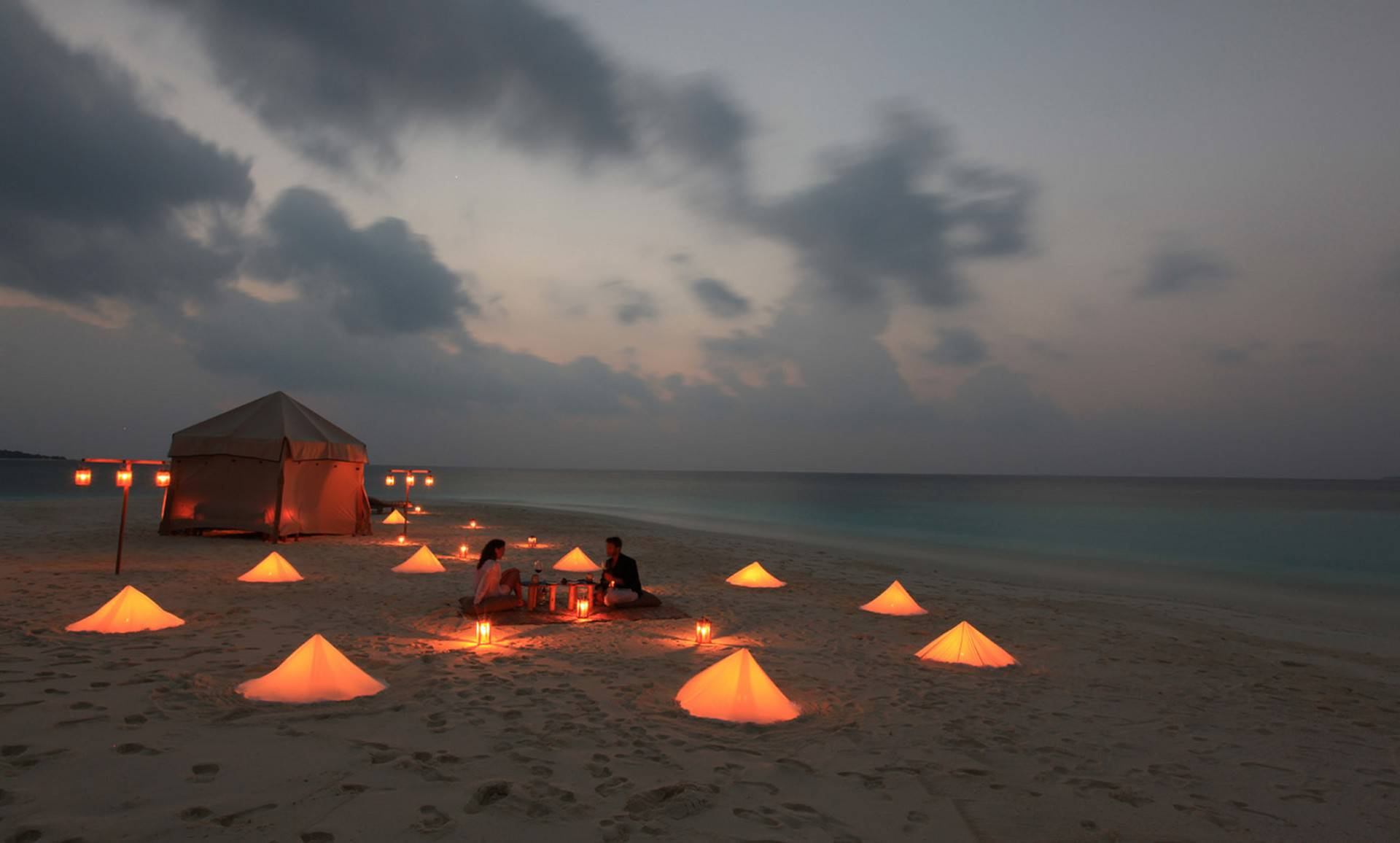 Romantic dinner picnics on the sand bank