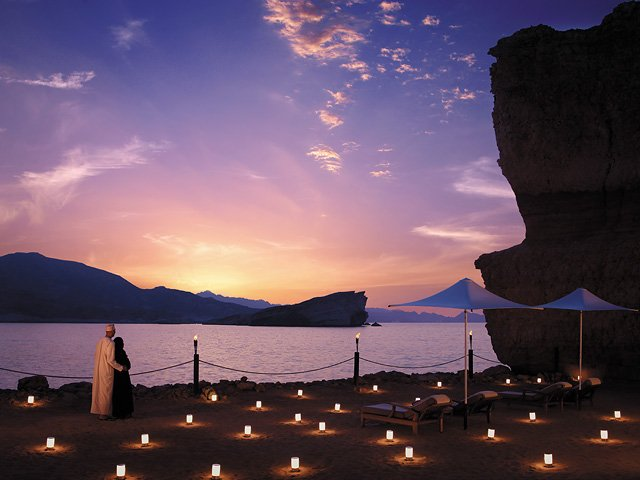 Sunset on Al Husn's beach