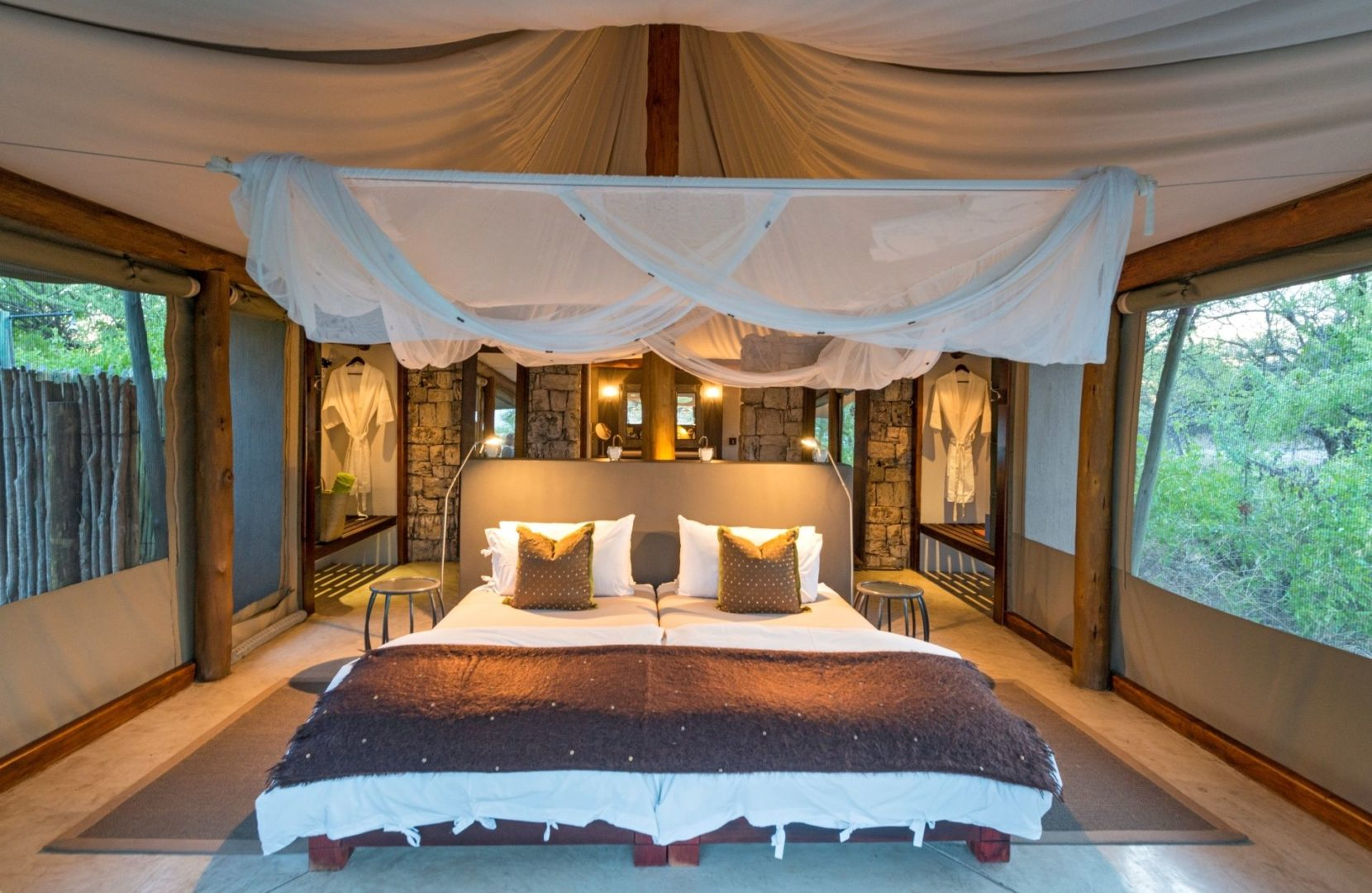 Luxury tents all have indoor and outdoor showers