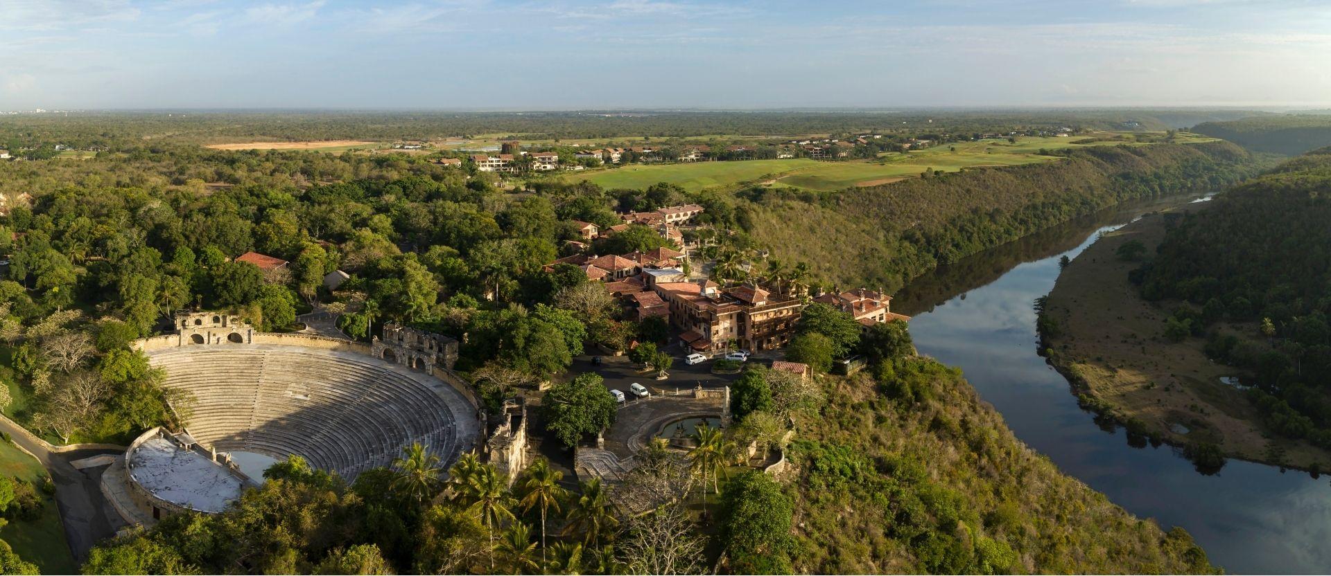 An aerial view of the Altos de Chavon village and amphitheatre