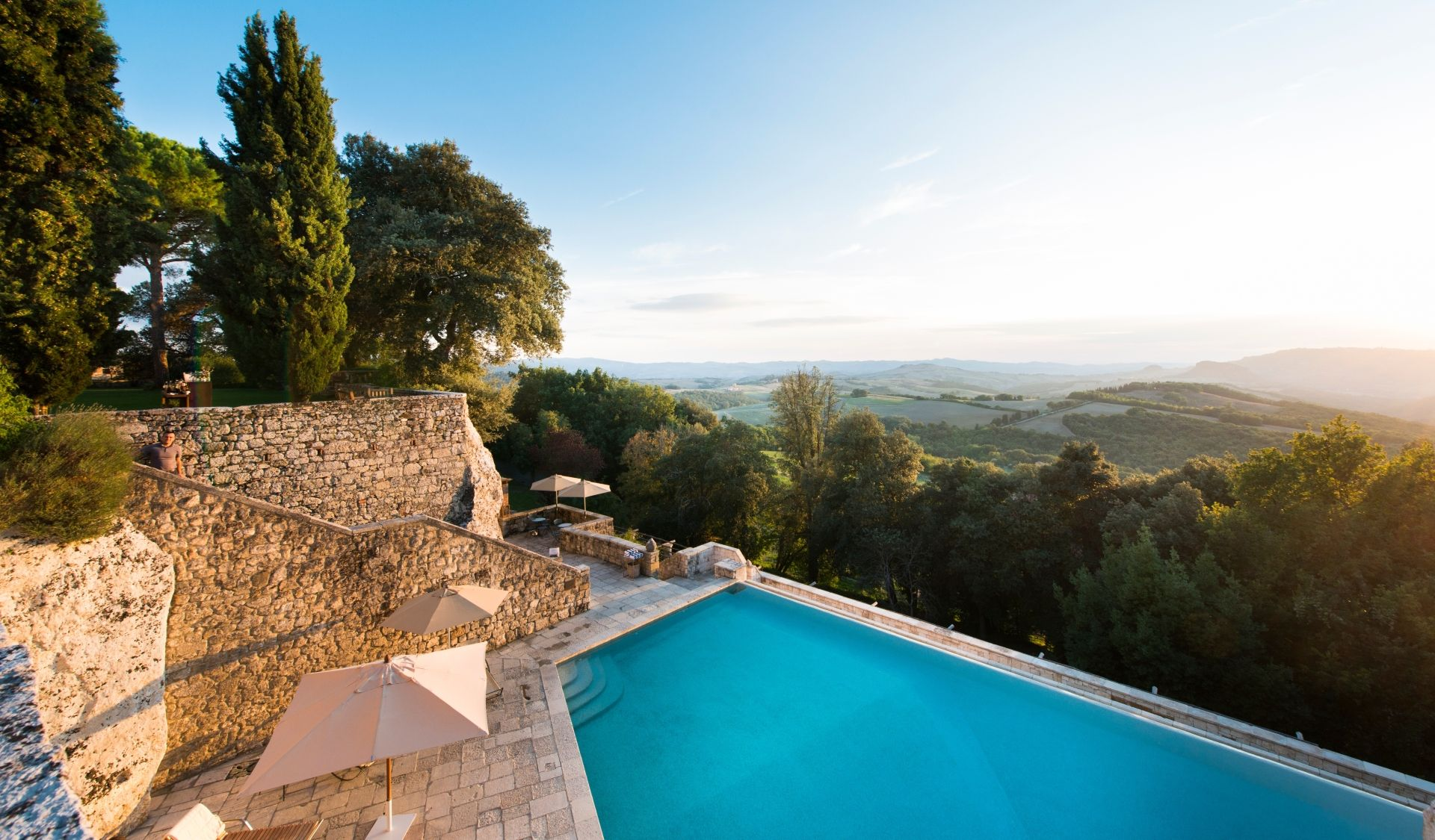 Main Pool View over the Tuscan hills
