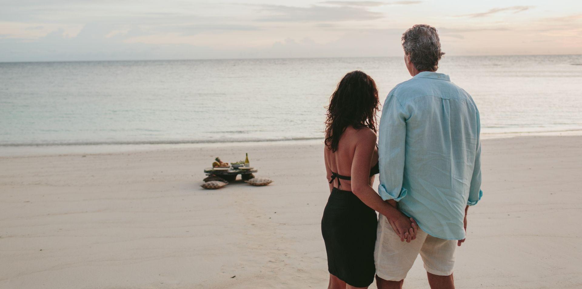 A romantic private beach picnic